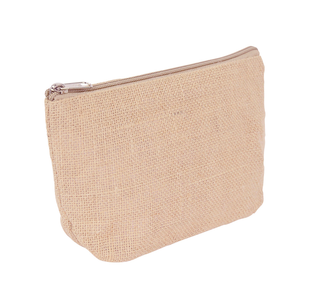 Wholesale Plain Jute Costmetic Zipper Bag
