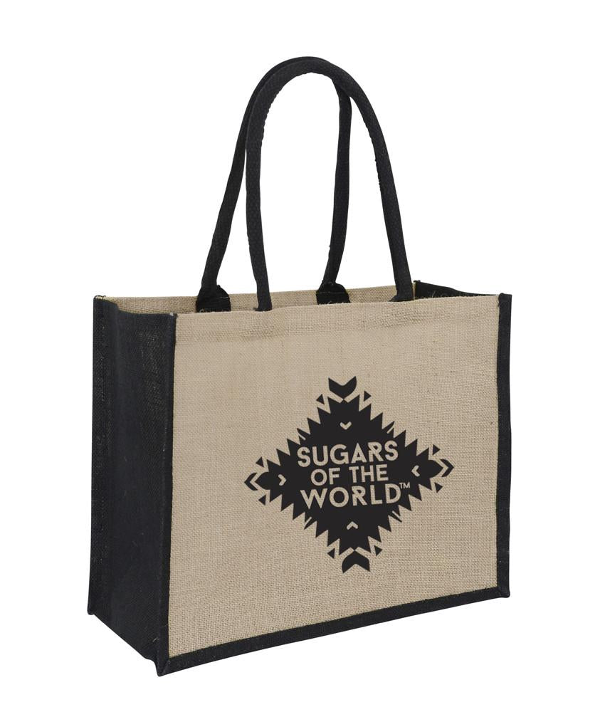 Jute Hessian Shopping Bag With Black Gusset