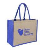 Jute Hessian Shopping Bag With Blue Gusset