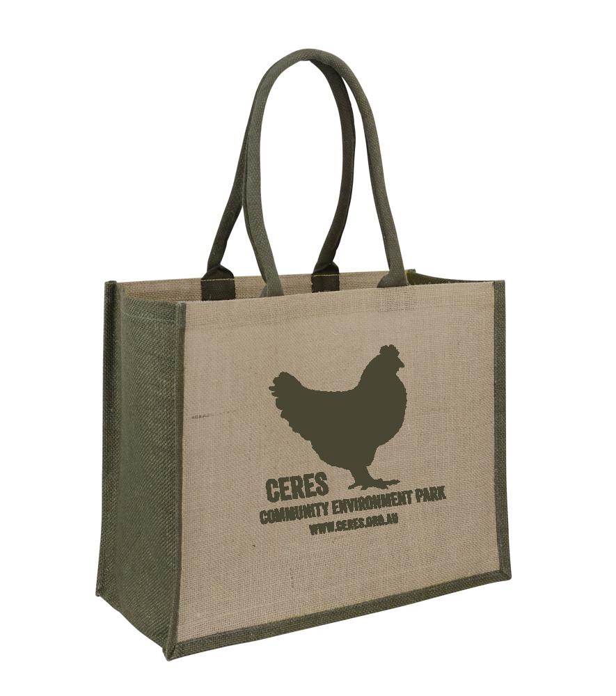 Jute Hessian Shopping Bag With Brown Gusset