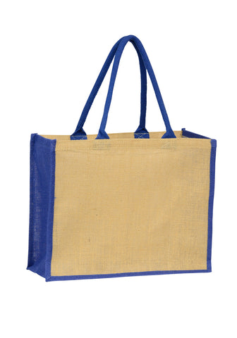 Jute Laminated Landscape - Navy Gusset Plain Bag