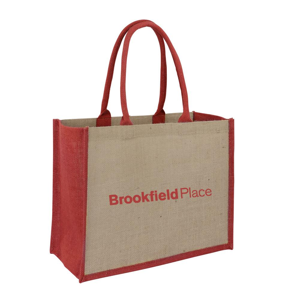 Jute Hessian Shopping Bag With Red Gusset