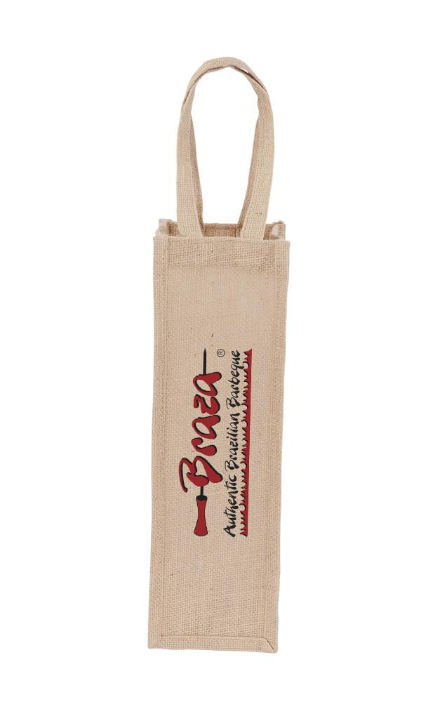 Jute Printed Wine Bag