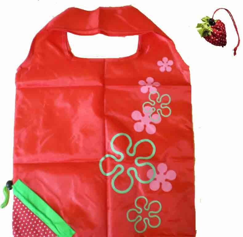Nylon Foldable Bag With Strawberry Design