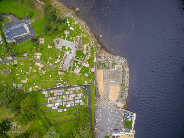 Aerial shot of the Abbey Graveyard, Donegal Town, Donegal. - Digital Download - Aerial Creations - Amazing Aerial Photography of Ireland.