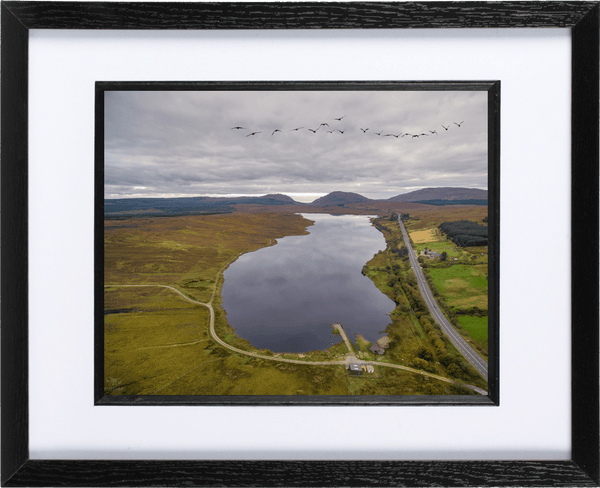 53cm x 44cm Framed Print of Barnesmore Gap, Donegal. - Aerial Creations - Amazing Aerial Photography of Ireland.