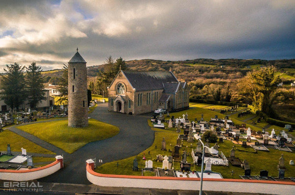 The Church of Saints Joseph and Conal, with round tower, Bruckless, Donegal. - Digital Download. - Aerial Creations - Amazing Aerial Photography of Ireland.