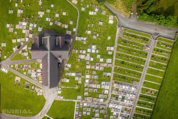 Clar Chapel, Donegal from 400 feet, looking straight down - Photo Print - Aerial Creations - Amazing Aerial Photography of Ireland.