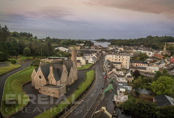 Donegal Town by the Chapel - Photo Print - Eireial Creations - Drone Operator - Aerial Photography Ireland