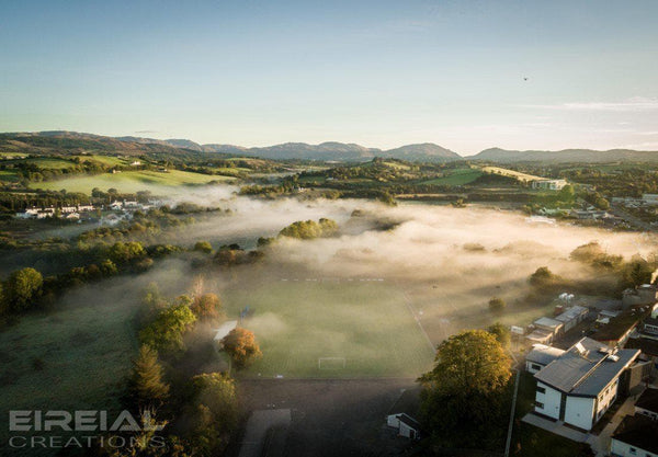 A misty Autumn morning at Donegal Town Football Club, County Donegal on Canvas - Aerial Creations - Amazing Aerial Photography of Ireland.
