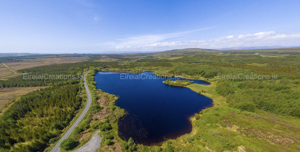 Panoramic shot of Lough Nadarragh, Rathmullen, County Donegal - Photo Print - Aerial Creations - Amazing Aerial Photography of Ireland.