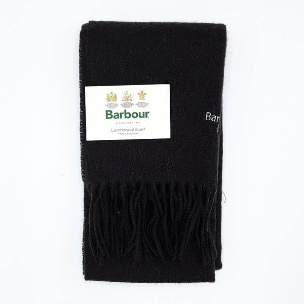 Barbour Trefill - Plain Lambswool Scarf - Black