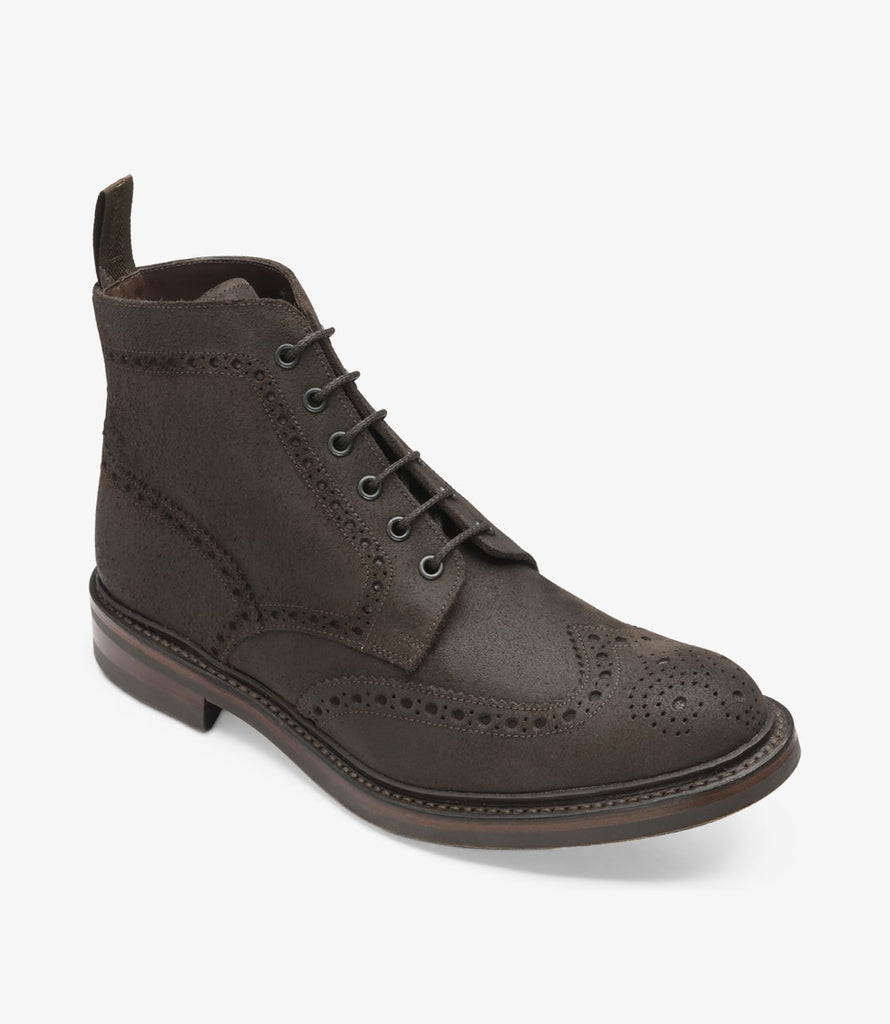 Loake Shoes - Bedale Waxed Suede - Dark