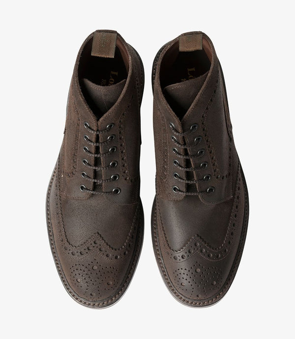 Loake Skór - Bedale Waxed Suede - Dark Brown