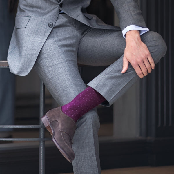 London Sock - Spot Of Style Bordeaux And Grey