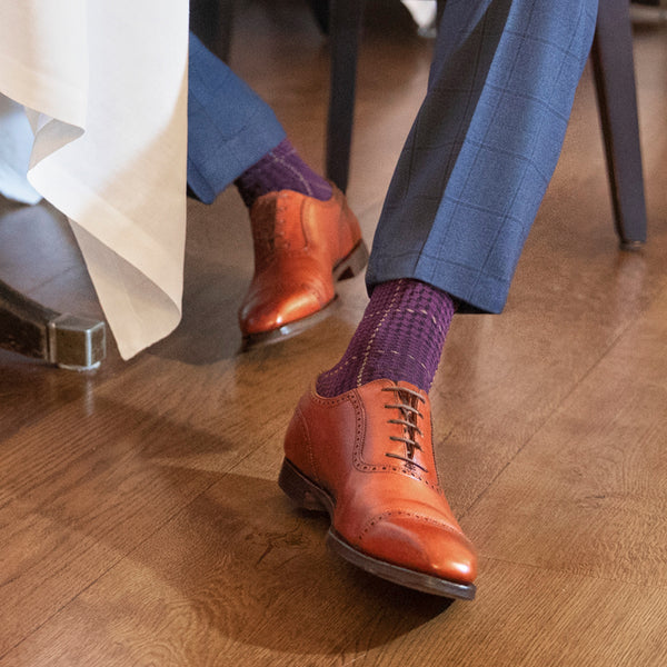 London Sock - Ottaway Purple Check