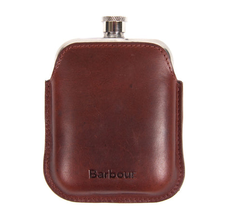 Barbour Waxed Leather Hip Flask - Dk Brown