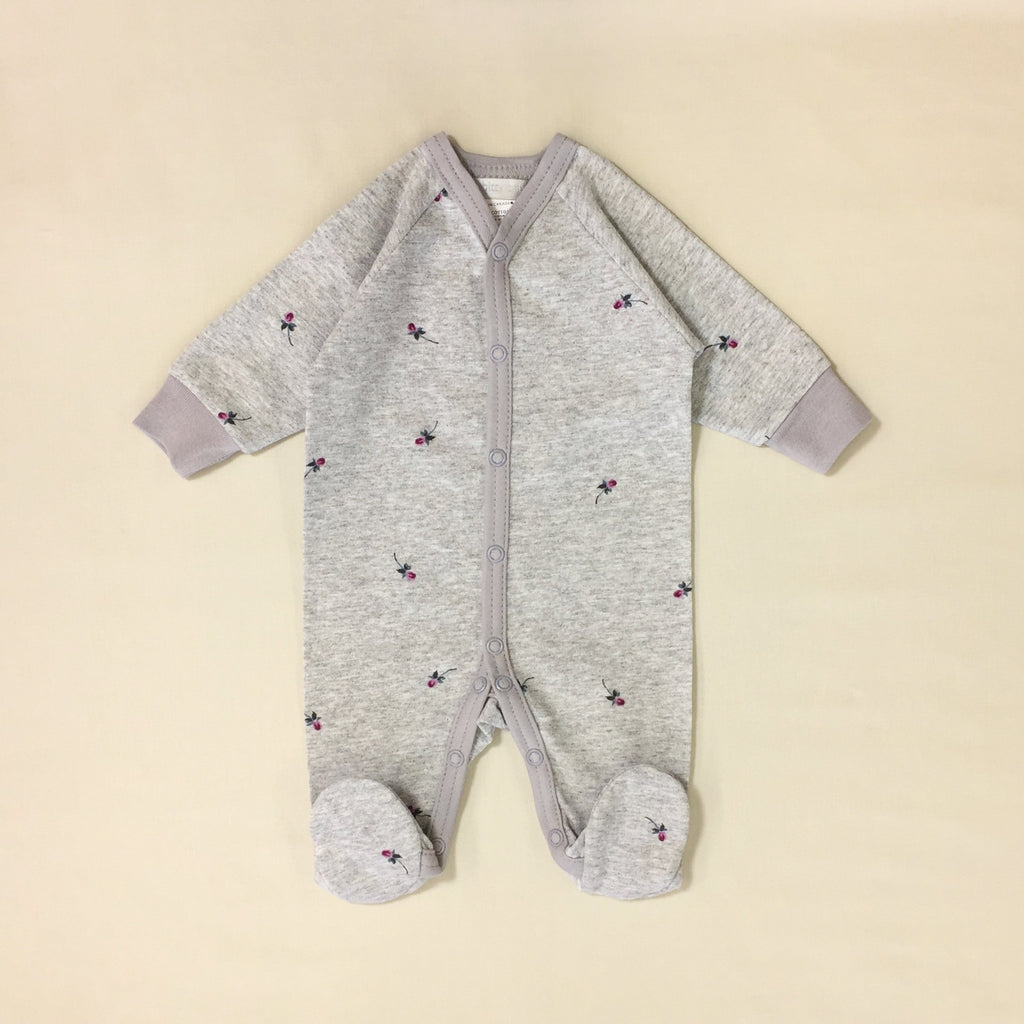 grey rose footed baby sleeper