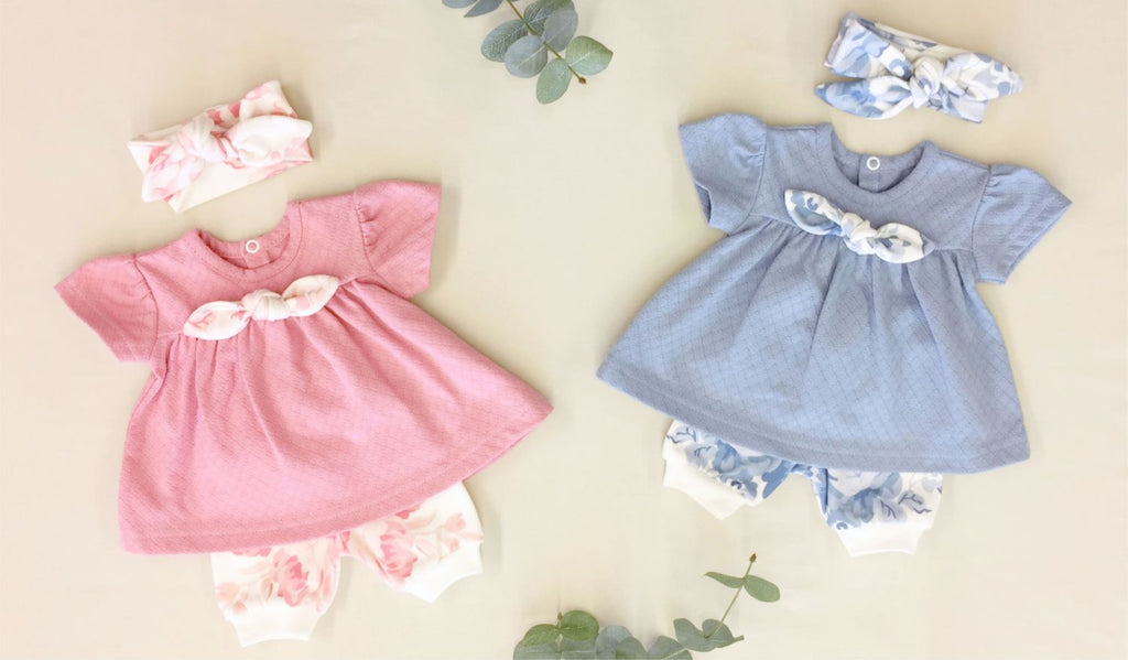 pink and blue baby girl rose dresses