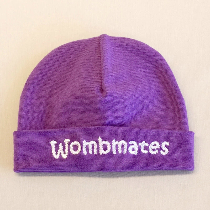 Wombmates embroidered baby hat in Purple Made in Canada