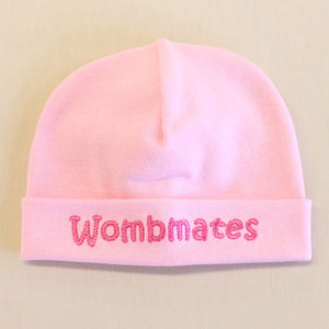 Wombmates embroidered baby hat in Pink Made in canada