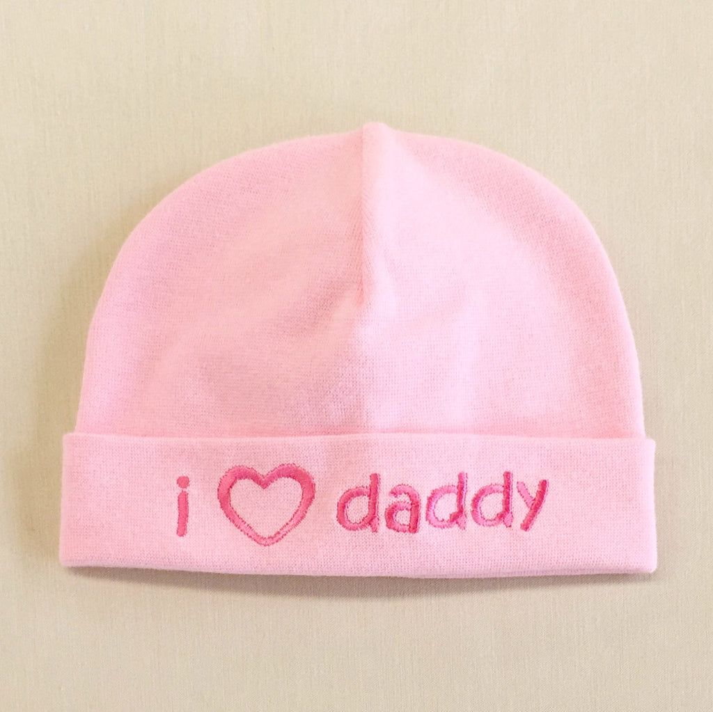 I Love Daddy embroidered baby hat in pink Made in Canada