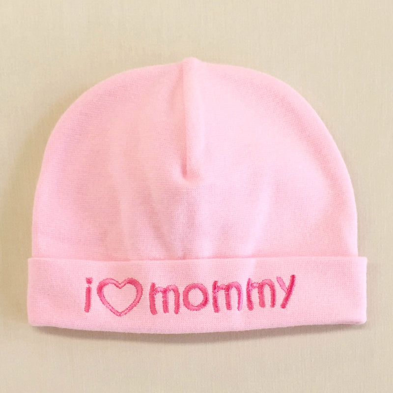 I Love Mommy embroidered baby hat in Pink Made in Canada