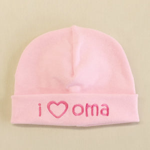 I Love Oma embroidered baby hat in pink Made in Canada