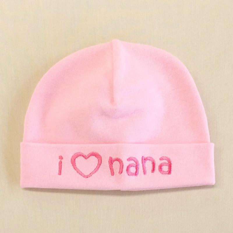 I Love Nana embroidered baby hat in pink Made in Canada