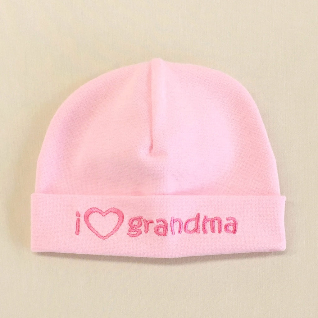 I Love Grandma embroidered baby hat in pink Made in Canada