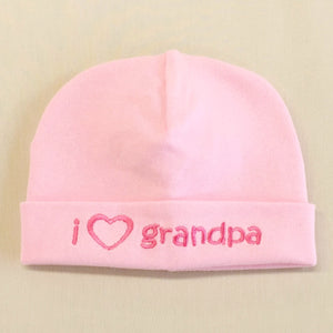 I Love Grandpa embroidered baby hat in pink Made in canada