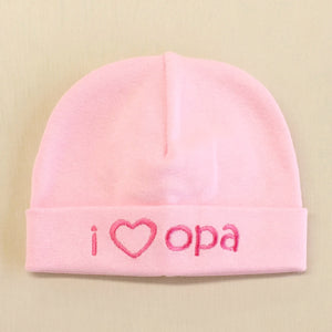 I Love Opa embroidered baby hat in pink Made in Canada