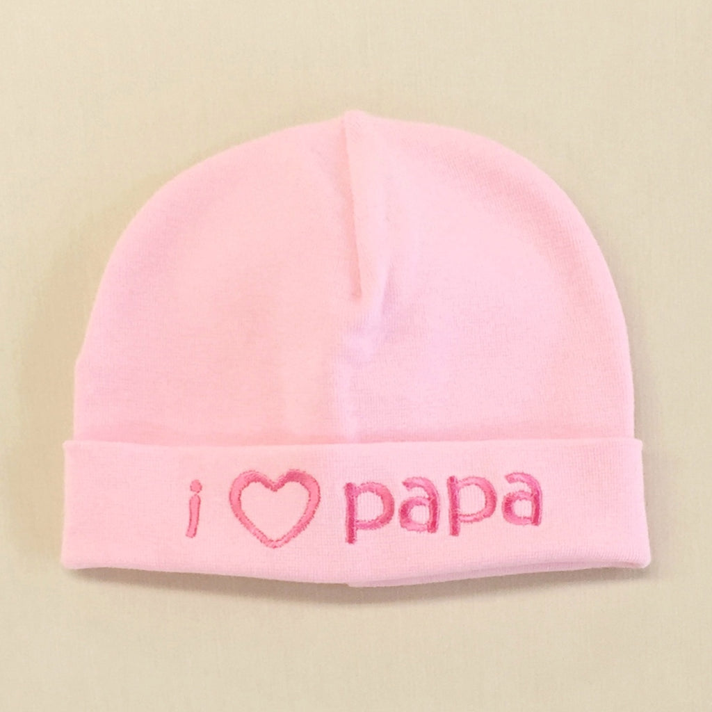 I Love Papa embroidered baby hat in pink Made in Canada