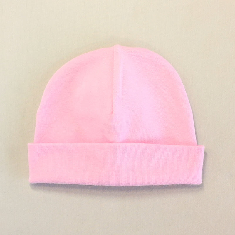 Custom embroidered baby hat pink font