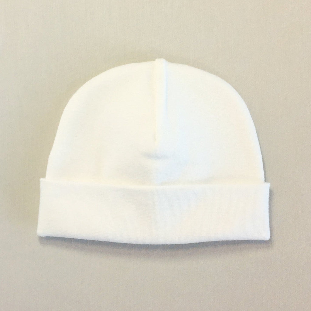 Custom embroidered baby hat cream