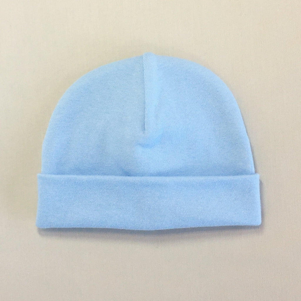 Custom embroidered baby hat blue