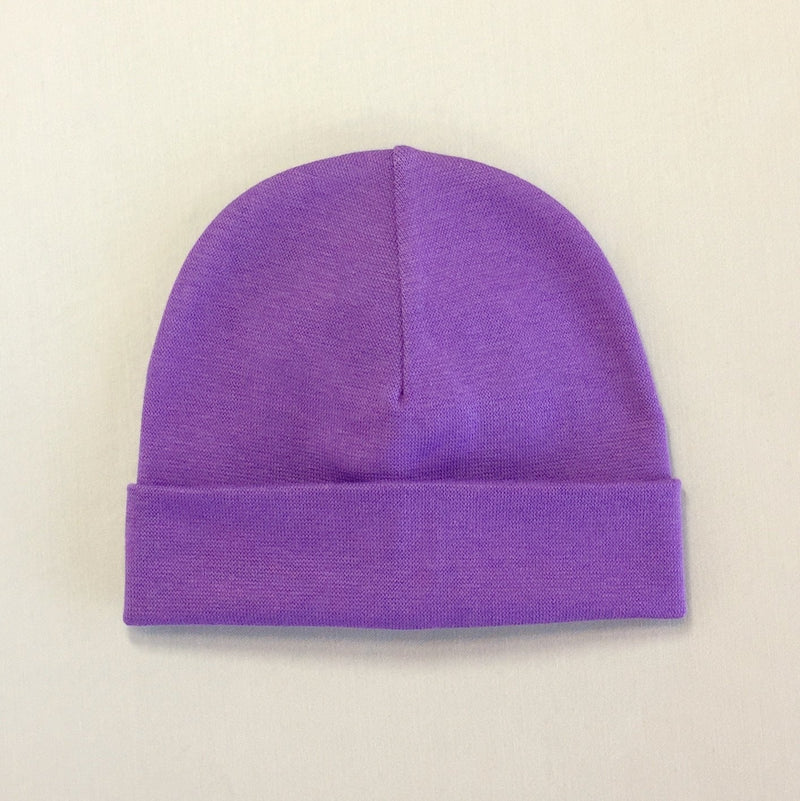 Custom embroidered baby hat purple