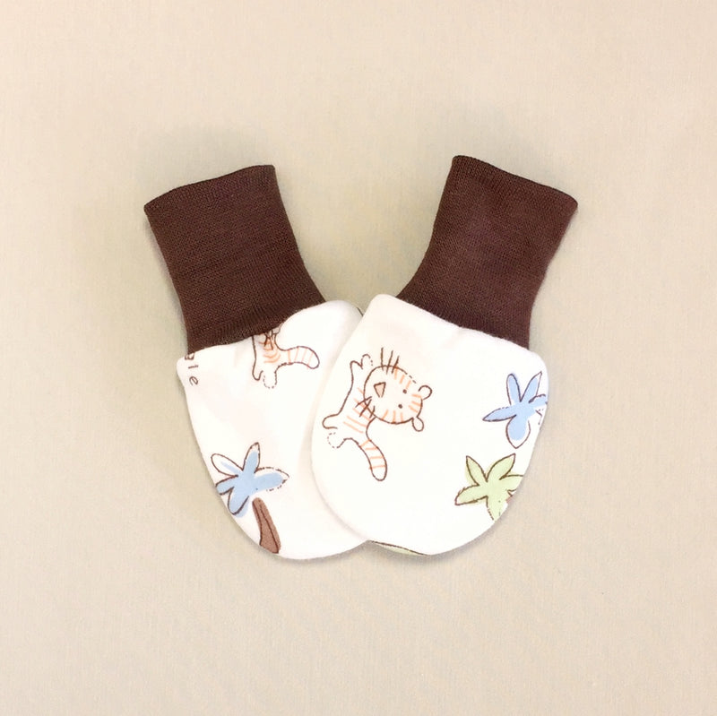 cotton scratch mittens jungle print