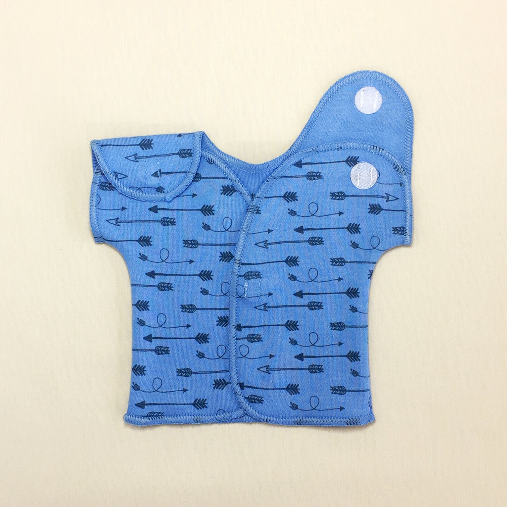 NICU friendly shirt for micro preemie baby