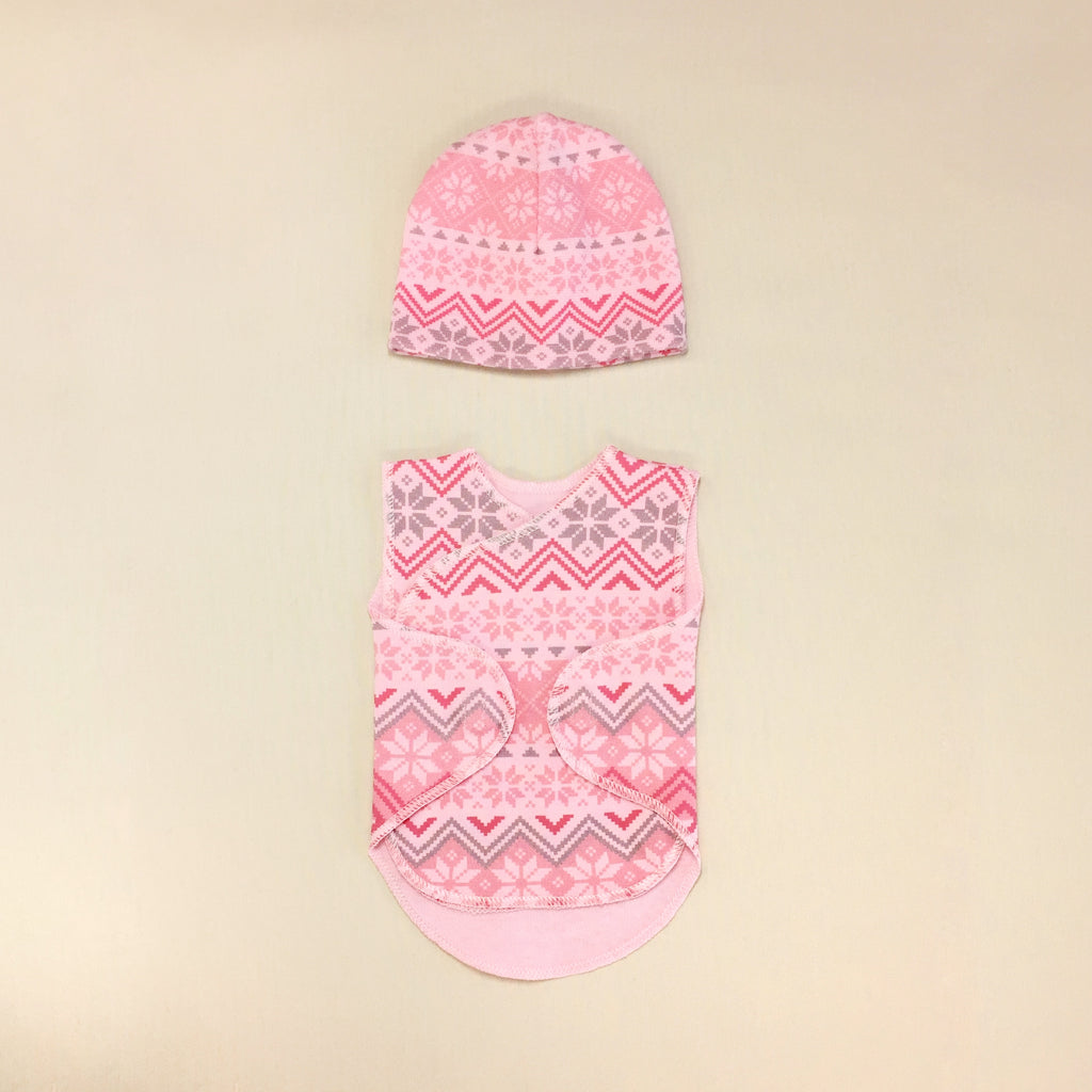 NICU Friendly Wrap Set Pink Nordic