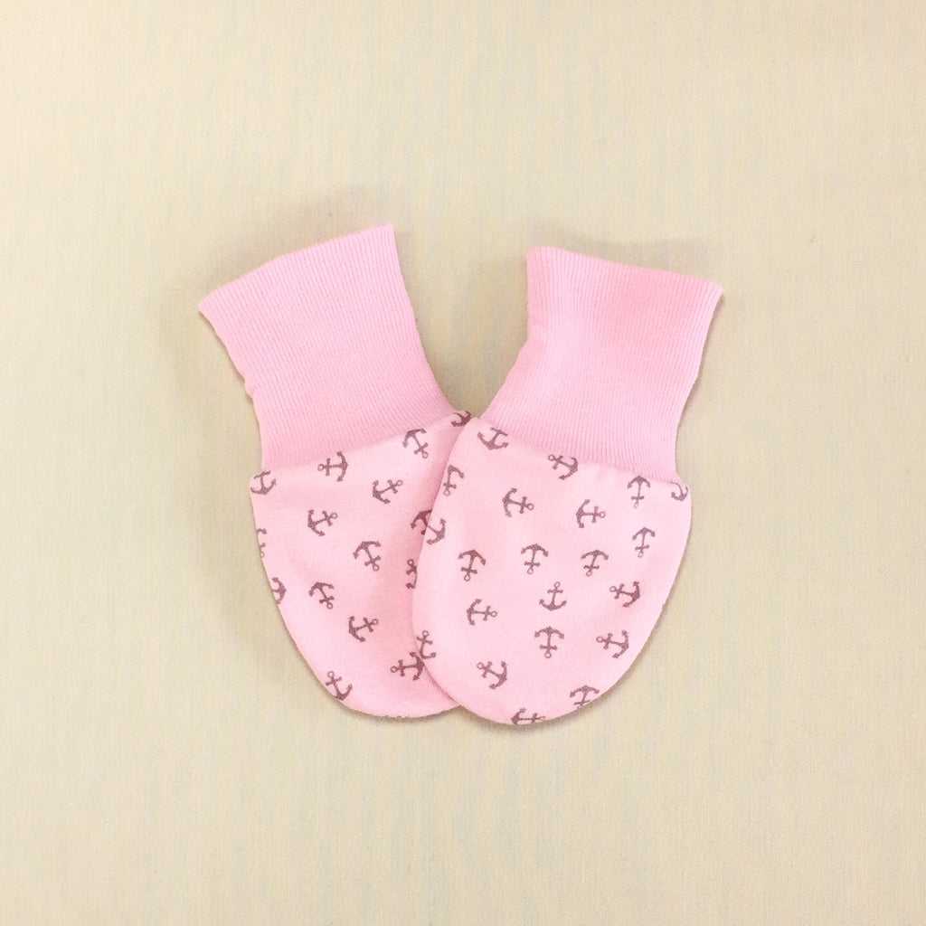Scratch Mittens Anchors Pink