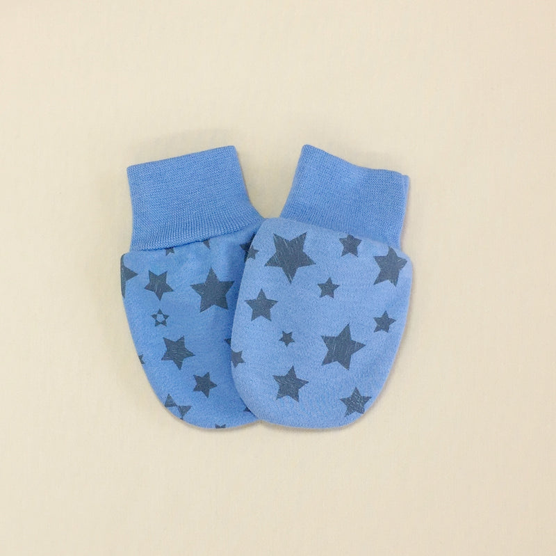 deep blue cotton scratch mittens