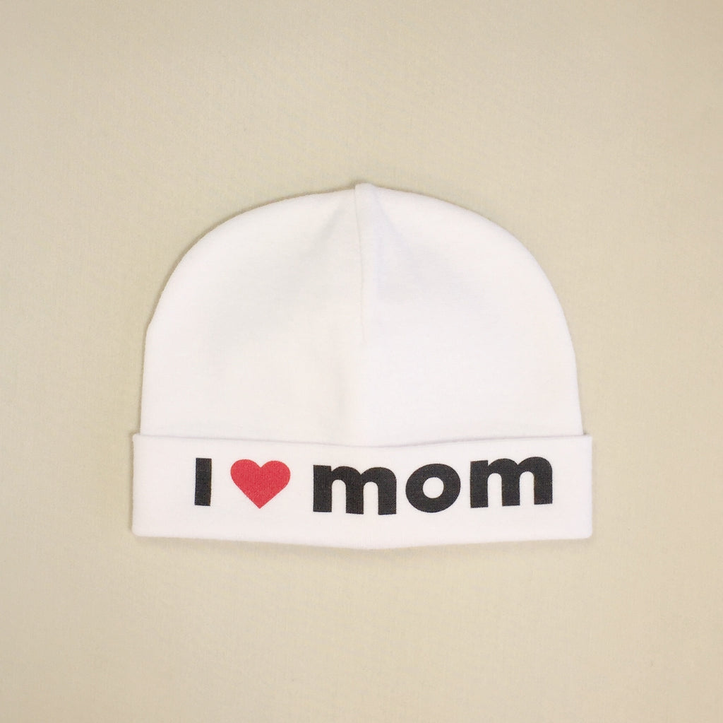 I Love Mom printed baby brim hat preemie
