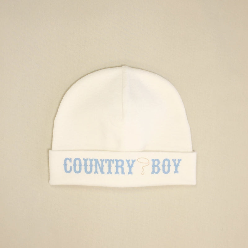 Country Boy printed baby brim hat preemie