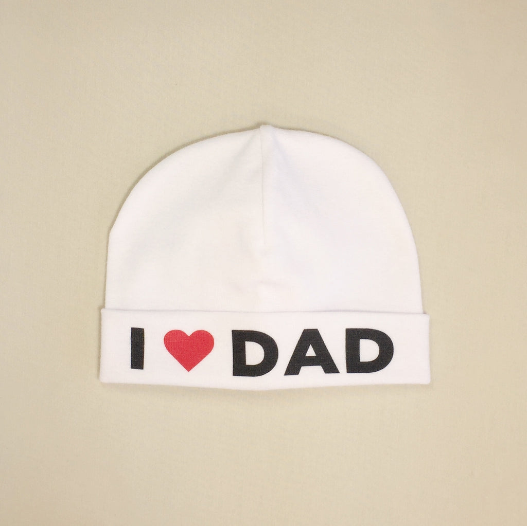I Love Dad printed baby brim hat preemie