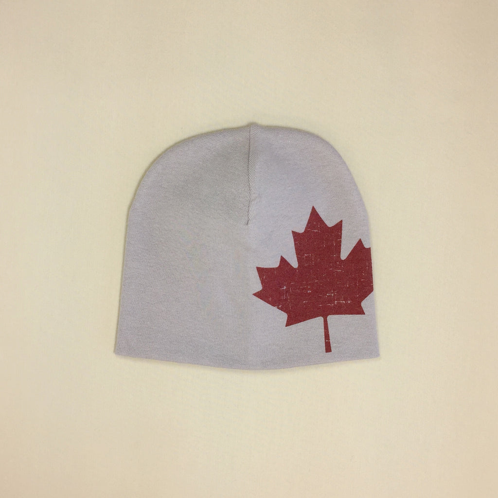 Best Baby Beanie Maple Leaf Silver Made in Canada