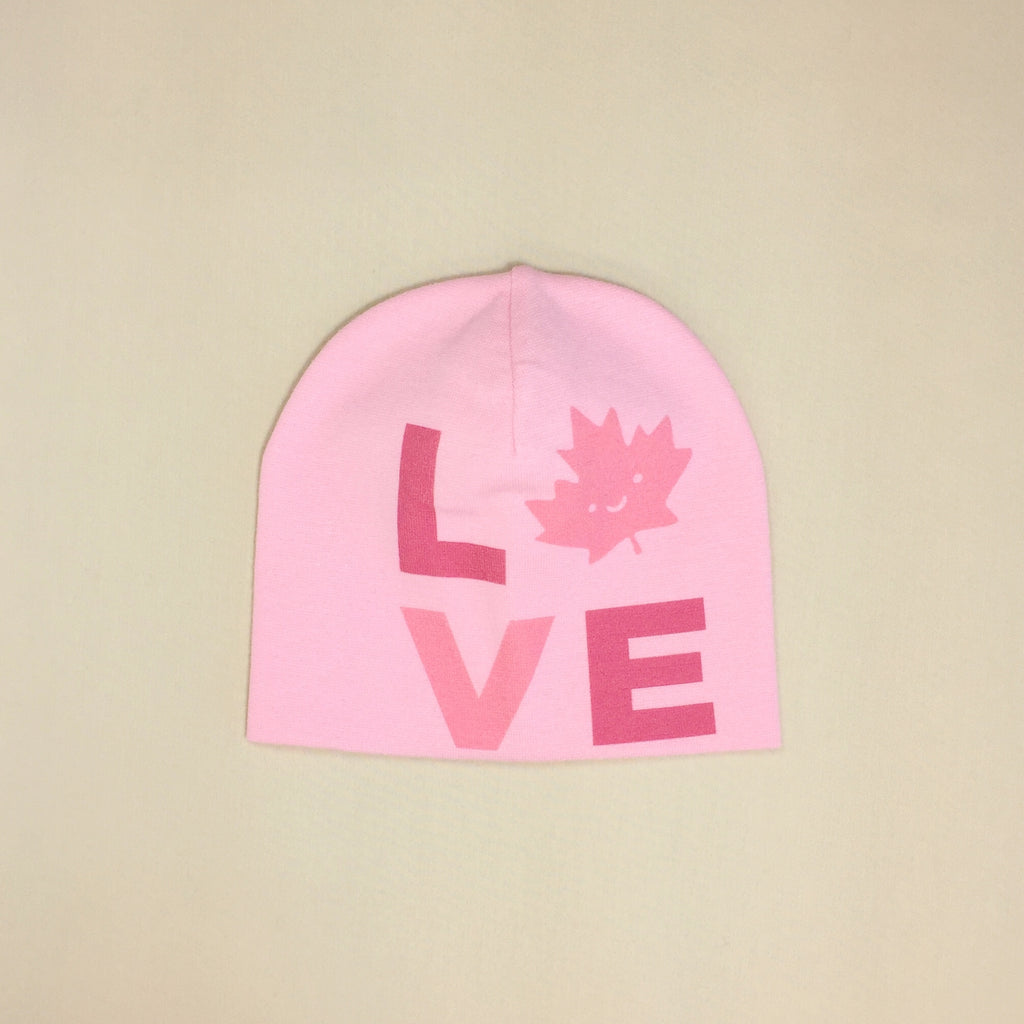 Best Baby Beanie Love Canada Pink Made in Canada