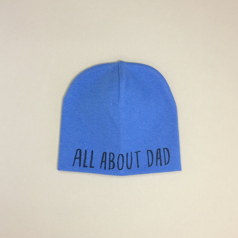All About Dad Best Baby Beanie Deep Blue Made in Canada