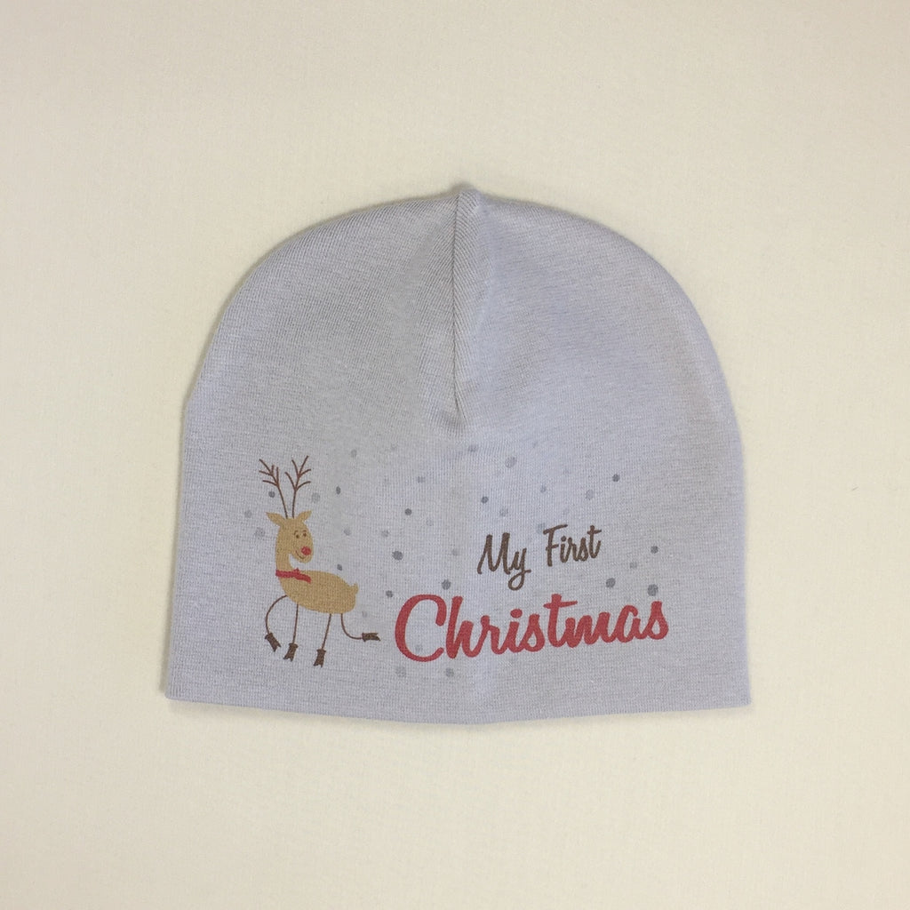 My First Christmas graphic printed baby hat.