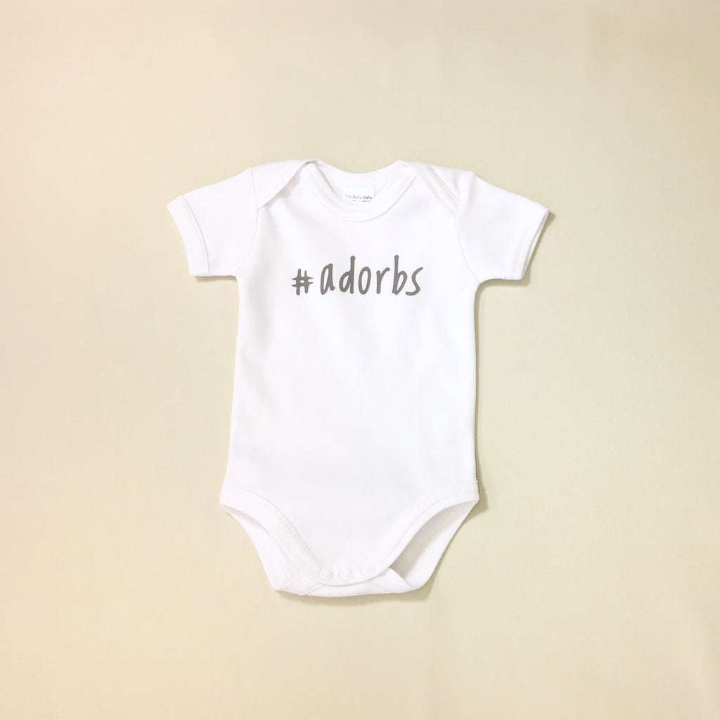 #adorbs graphic baby onesie